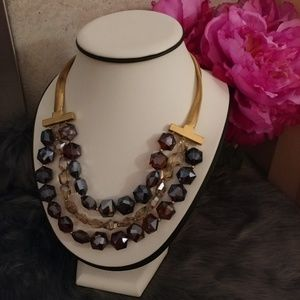 Kenneth Cole triple strand beaded necklace